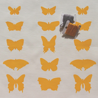 butterflies - screenprinted fabric panel, yellow on white linen-cotton or linen