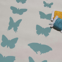 butterflies - handprinted fabric panel, duck egg blue