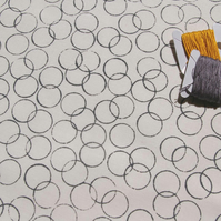 circles - hand screen printed fabric panel in stone on white