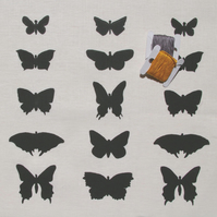 butterflies - handprinted fabric panel printed in black