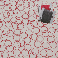 circles - hand screen printed fabric panel in raspberry on white