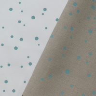 hexadots - hand screen printed fabric panel in duck egg blue on white