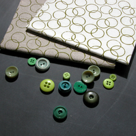 circles - hand screen printed fabric panel in apple green