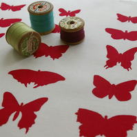 raspberry red butterflies - handprinted fabric panel