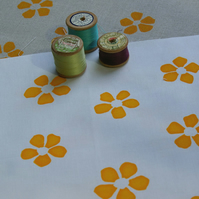 yellow petal screen printed fabric panel