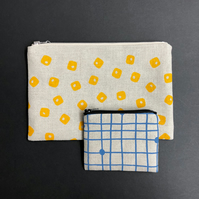 linen purse - yellow tiles