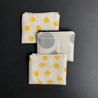 linen coin purse - yellow tiles