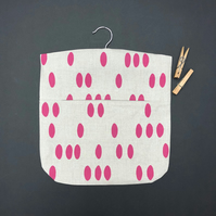 linen peg bag, screen printed with my pebble design in blush pink