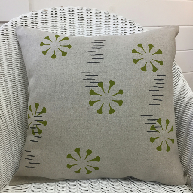 linen cushion, flower burst design hand screen printed in apple green
