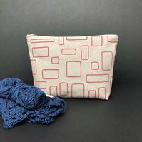 large linen project pouch, blush pink windows