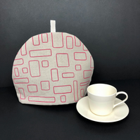 linen tea cosy, midcentury windows design in blush pink