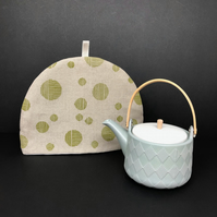 linen tea cosy, moon design in apple green