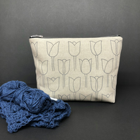large linen project pouch, stone grey art deco tulips