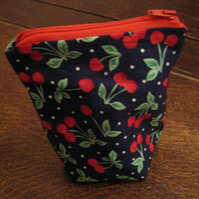 Cute Navy & Red Cherry Purse. Free P & P!