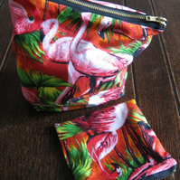 Pretty Retro Flamingo Fabric Make Up Bag & Purse.