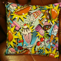 "Super Bright Fast Food Pop Art Cushion! 16"" x 16"""