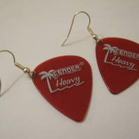 Red Plectrum Earrings.
