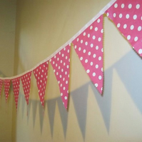 4m of fabulous Pink & White Polka Dot Bunting