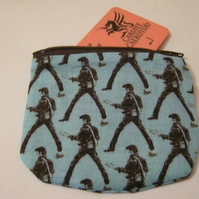 Blue and Brown Elvis Zip Purse