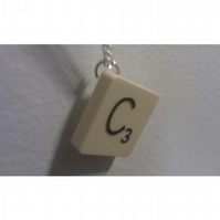 C Scrabble Letter Necklace *Free P&P*