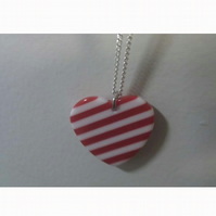 Red and White Heart Pendant and Chain *Free P&P*