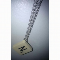 N Scrabble Letter Necklace. *Free P & P*