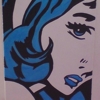 Feeling Blue Pop Art Girl. Free P&P!