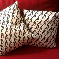 'Two for Joy' Pair of Magpie Cushion Covers 14 x 14""