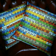 Pair of Super Tape Measure Ruler Cushion Covers