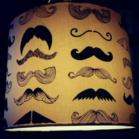 Super Moustache 30cm Roll Top Drum Lampshade.