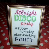 The Brakes All Night Disco Party cross stitch lyrics