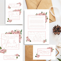 Wedding stationary package - 4 items incl custom invitation & save the date