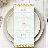 Custom menu for weddings & events, personalised printable
