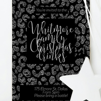 Custom Christmas party invitation, personalised printable for your celebration