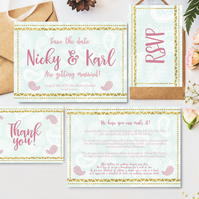 Wedding stationary suite - 7 items customised incl invitation & save the date