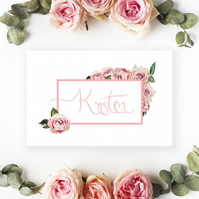 Custom name cards with 25 names for table place settings at weddings & events