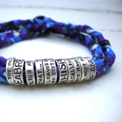 Personalised Message Bracelet '10 little rings'