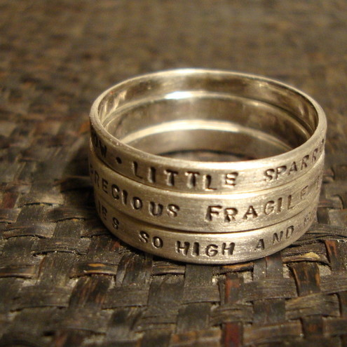 Three Stacking Lyrics Rings