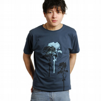3 Trees Mens Denim Blue Organic T shirt
