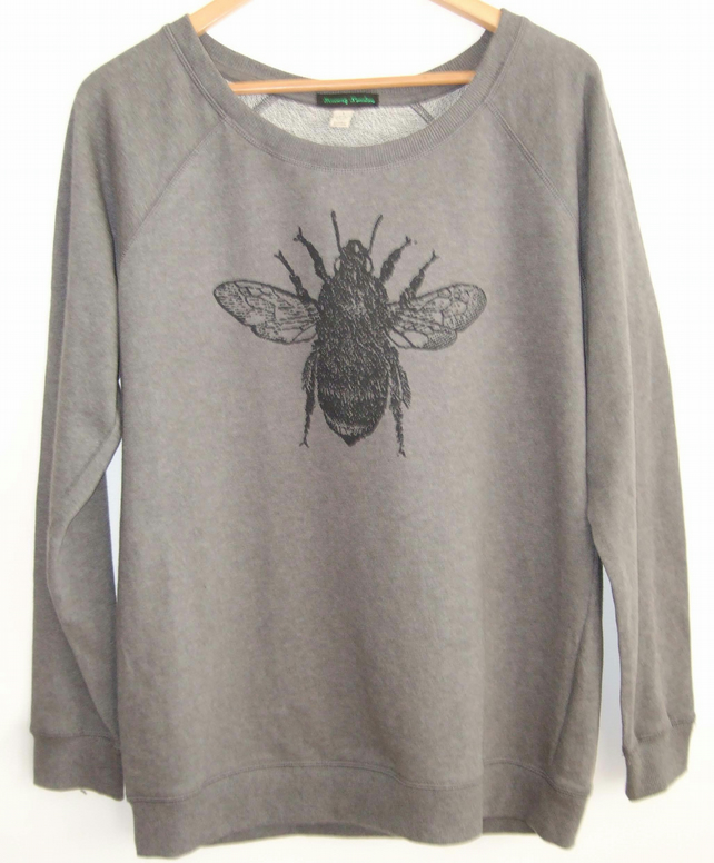 Bumble Bee Womens dark grey raglan sweatshirt organic cotton  Bee print