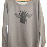 Bumble Bee Womens dark grey raglan sweatshirt organic cotton Save The Bee print