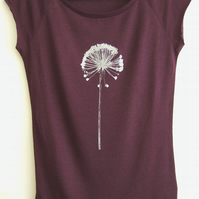 Allium womens bamboo T shirt  aubergine and silver