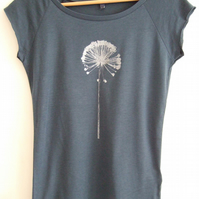 Allium womens printed T shirt denim blue and silver bamboo and organic cotton