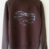 SALE Moorland Mens Printed Fair Wear Sweatshirt dark brown