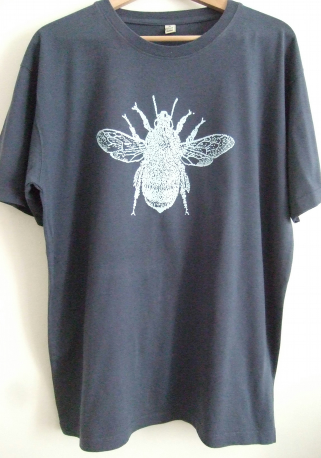 BumbleBee Mens Printed T shirt  vintage washed denim blue organic cotton