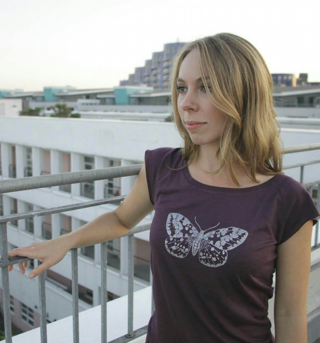Silver Moth womens printed bamboo raglan T shirt  aubergine and silver