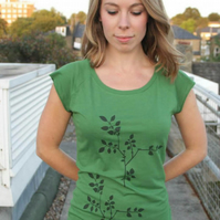 Plant and bird design womens leaf green raglan printed T shirt