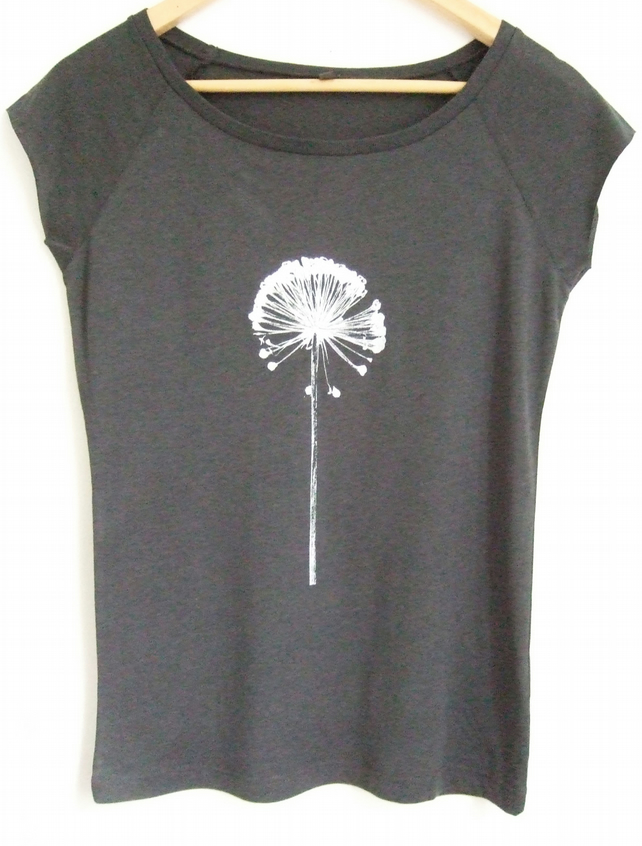 Allium Womens charcoal grey  raglan sleeve bamboo and organic cotton T Shirt