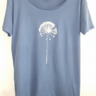 Silver Allium print Womens  organic cotton and Tencel T shirt light denim blue