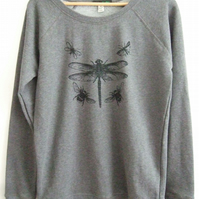 Dragonfly Womens dark grey printed organic cotton sweatshirt